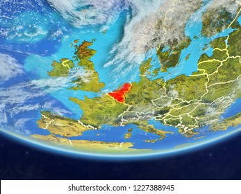 Benelux Union on realistic model of planet Earth with country borders and very detailed planet surface and clouds. 3D illustration. Elements of this image furnished by NASA.