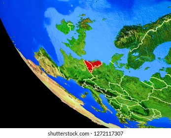 Benelux Union on realistic model of planet Earth with country borders and very detailed planet surface. 3D illustration. Elements of this image furnished by NASA.