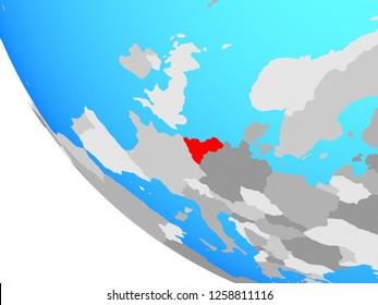 Benelux Union on simple globe. 3D illustration.