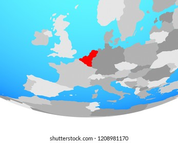 Benelux Union on simple political globe. 3D illustration.