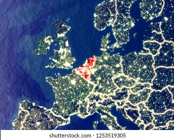 Benelux Union from space on Earth at night. Very fine detail of the plastic planet surface with bright city lights. 3D illustration. Elements of this image furnished by NASA.