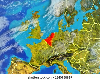 Benelux Union from space on model of planet Earth with country borders. Extremely fine detail of planet surface and clouds. 3D illustration. Elements of this image furnished by NASA.
