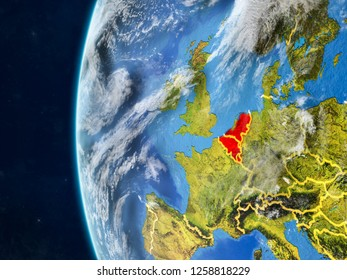 Benelux Union from space on model of planet Earth with country borders and very detailed planet surface and clouds. 3D illustration. Elements of this image furnished by NASA.