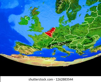 Benelux Union from space on model of planet Earth with country borders. 3D illustration. Elements of this image furnished by NASA.