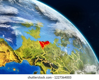 Benelux Union from space on realistic model of planet Earth with country borders and detailed planet surface and clouds. 3D illustration. Elements of this image furnished by NASA.