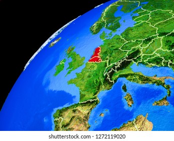Benelux Union from space. Planet Earth with country borders and extremely high detail of planet surface. 3D illustration. Elements of this image furnished by NASA.