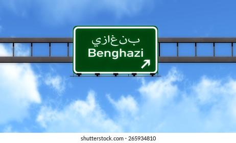 Benghazi Lybia Africa Highway Road Sign
