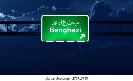 Benghazi Lybia Highway Road Sign at Night 3D artwork