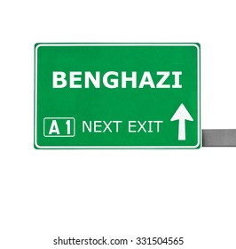 BENGHAZI road sign isolated on white