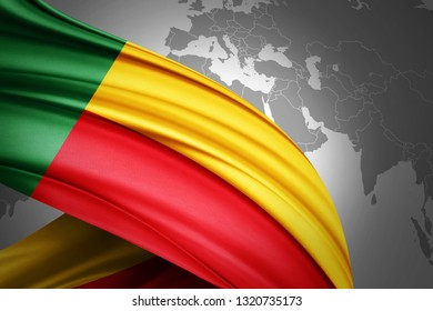 Benin flag of silk with copyspace for your text or images and world map background-3D illustration