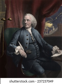 Benjamin Franklin 1706- 1790 in his study as lightning strikes outside the window, Mezzotint by Edward Fisher after a 1762 portrait by Mason Chamberlin with modern digital color.