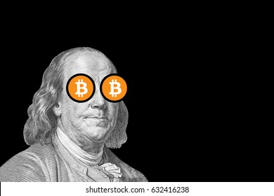 benjamin franklin with bitcoin eyes; cryptocurrency and traditional money;