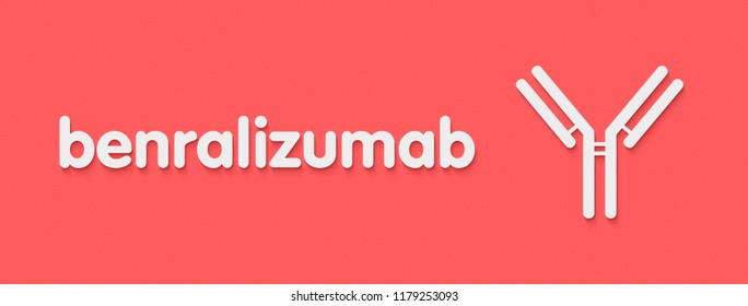 Benralizumab monoclonal antibody drug. Targets interleukin-5 receptor (CD125), used in treatment of eosinophilic asthma. Generic name and stylized antibody representation.