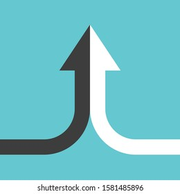 Bent arrow of two black and white ones merging on turquoise blue background. Partnership, merger, alliance and joining concept. Flat design. Raster copy