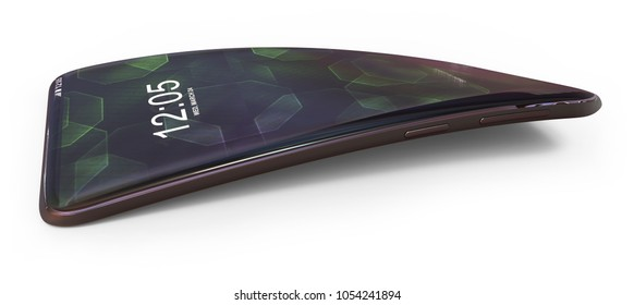 Bent generic smartphone isolated on white. 3D rendering