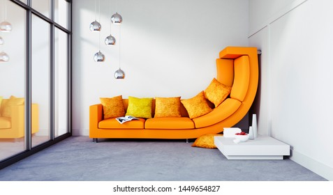 Bent sofa in a room too small - 3D illustration