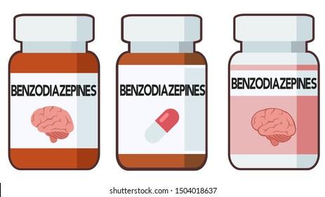 Benzodiazepines, bottle of pills, illustration
