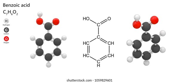 Benzoic acid (Carboxybenzene) is widely used as a food preservative. Molecular formula: C7H6O2. 3D illustration. Isolated on white background.