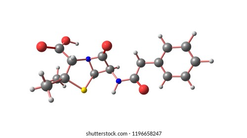 Benzylpenicillin or penicillin G is an antibiotic used to treat a number of bacterial infections: pneumonia, strep throat, syphilis, diphtheria, gas gangrene, leptospirosis. 3d illustration