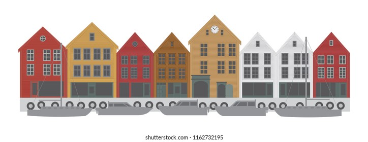 Bergen Norway downtown waterfront colorful buildings shopping district illustration
