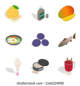 Beriberi icons set. Isometric set of 9 beriberi icons for web isolated on white background