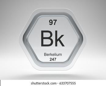 Berkelium symbol on modern glass and steel icon 3D render