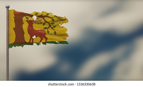 Berkshire 3D tattered waving flag illustration on flagpole. Isolated on blurred sky background with space on the right side. Depth of Field effect.