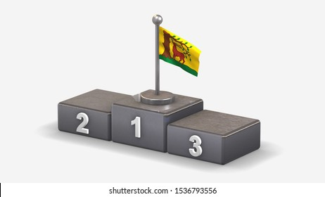 Berkshire 3D waving flag illustration on winner podium with three rank places. Isolated on white background.