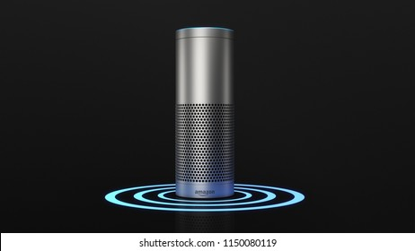 BERLIN, GERMANY - AUG 6: 3D Illustration of Amazon Alexa Echo Plus on black backround