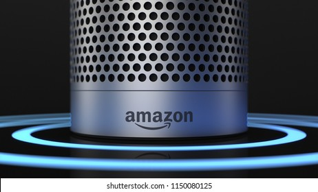 BERLIN, GERMANY - AUG 6: 3D Illustration of Amazon Alexa Echo Plus on black backround