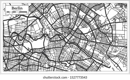 Berlin Germany City Map in Black and White Color. Outline Map.