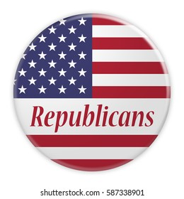 BERLIN, GERMANY - FEBRUARY 25, 2017: USA Politics News Concept Badge: Republican Party Republicans Button With US Flag, 3d illustration on white background