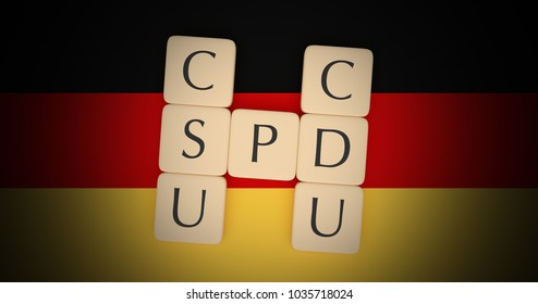 BERLIN, GERMANY - FEBRUARY 28, 2018: Germany Politics Grand Coalition Concept: Letter Tiles CDU, CSU And SPD On German Flag, 3d illustration