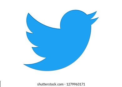 BERLIN, GERMANY - JAN 10 2019: Twitter logo mark sign symbol in minimalist design as light blue colour cut out isolated on white background. Concept for online social media networking.