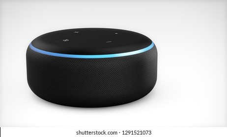 BERLIN, GERMANY - JAN 22: 3D Illustration | Amazon Echo Dot Black Loudspeaker with activated voice recognition, on light backround. - Illustration