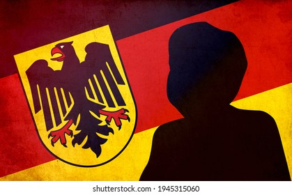 Berlin, Germany - March 29, 2021: Silhouette of Angela Merkel, the Federal Chancellor of Germany, with Germany flag in background.