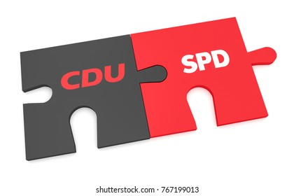 BERLIN, GERMANY - NOVEMBER 27, 2017: German Politics Grand Coalition Concept: CDU And SPD Puzzle Pieces, 3d illustration isolated on white background