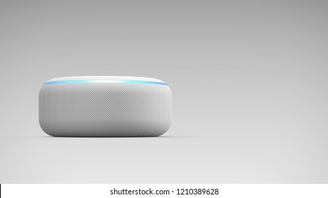 BERLIN, GERMANY - OCT 23: 3D Illustration | Amazon Echo Dot White Loudspeaker with activated voice  recognition, on light backround.