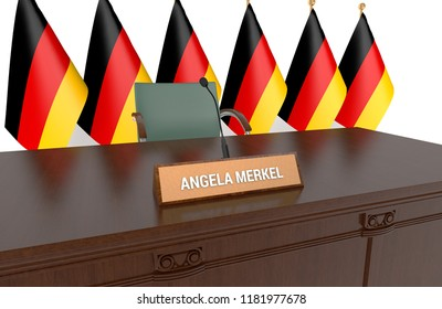 BERLIN, GERMANY - SEPT. 18: Wooden table with nameplate Angela Merkel. Merkel is a German politician serving as Chancellor of Germany since 2005.  Angela Merkel rules out lifting EU Russia sanctions.