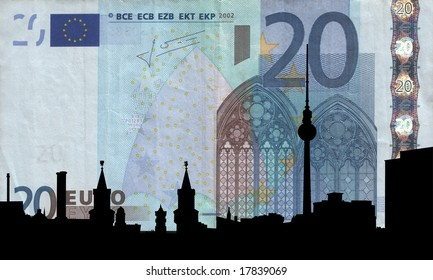 Berlin skyline with TV tower against twenty euro note illustration