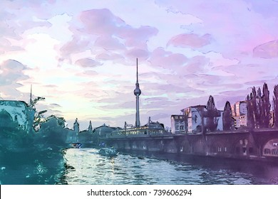Berlin at Sunset - Illustration - Alexanderplatz - Alex TV Tower