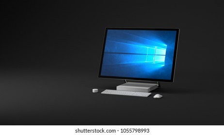 BERLIN,GERMANY - March 20 : 3D illustration of Microsoft Surface Studio Packshot on dark studio background, the new all-in-one Microsoft PC for Creatives and Professionals on March 20 2018 in BERLIN,