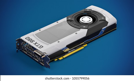 BERLIN,GERMANY - March 20 : 3D illustration of Nvidia GeForce GTX 980 Packshot on blue studio background, the high-end Graphics Card GPU for Gaming and Rendering on March 20 2018 in BERLIN, GERMANY