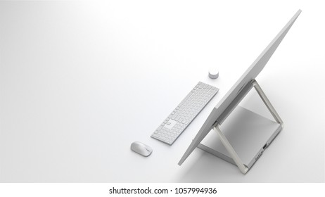 BERLIN,GERMANY - March 20 : 3D illustration of Microsoft Surface Studio Packshot on whitestudio background, the new all-in-one Microsoft PC for Creatives and Professionals on March 20 2018 in BERLIN,