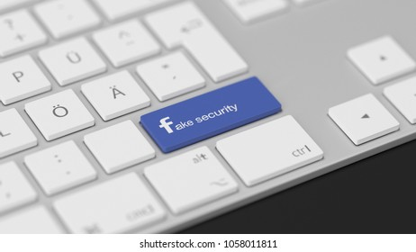 BERLIN,GERMANY - March 20 : 3D illustration of Keyboard Key with Text Fake Security on white Keyboard on March 20 2018 in BERLIN, GERMANY