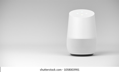 BERLIN,GERMANY - May 24 : Google home Packshot on white studio background, the voice recognition streaming device utilizing Google Assistant from Google on May 24 2017 in BERLIN, GERMANY