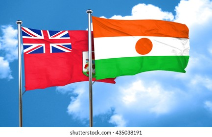 bermuda flag with Niger flag, 3D rendering