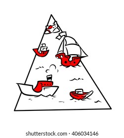 Bermuda Triangle ships aircraft cartoon doodle contour illustration style black red