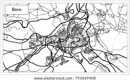 Bern Switzerland Map Black White Color Stock Illustration 793669408 ...