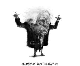 Bernie Sanders B&w Editorial Cartoon